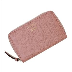 Auth. Gucci Swing Soft Pink Compact Zip Wallet